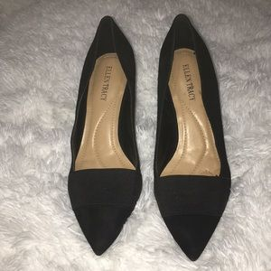 ELLEN TRACY | black suade heels with stretch